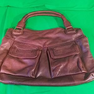 Tahari leather purse/tote maroon red